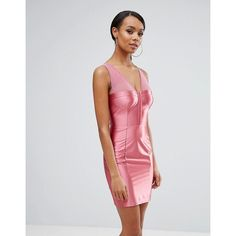 NaaNaa High Shine Bodycon Dress With Corset Bodice ($42) ❤ liked on Polyvore featuring dresses, pink, cocktail party dress, bodycon midi dress, corset dresses, bodycon dress and pink party dresses