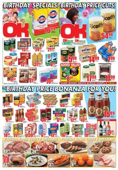 OK Grocer Danabaai's amazingly low #birthday prices, valid from 21 August 2013 to 27 August 2013. Offers valid while stocks last. Selected items may not be available. No traders. We reserve the right to limit quantities. Watch This Space, August 2013, Birthday, Birthdays, Dirt Bike Birthday, Birth Day