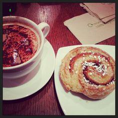 Soya hot chocolate and a Swedish cinnamon bun (kanel bulle) at The Scandinavian Kitchen, London.