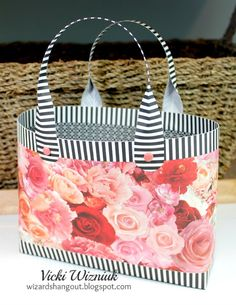Large Hallett Purse (Bag-in-a-Box) using CTMH La Vie En Rose papers. (instructions by Crafty Hallett) Created by Vicki Wizniuk Diy Tote Bag, Diy Purse, Paper Purse, Paper Crafts Origami, Purse Tutorial, Greeting Cards Handmade, Types Of Purses, Little Gifts, Craft Fairs
