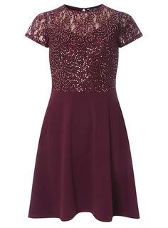 Burgundy Sequin Fit and Flare Dress