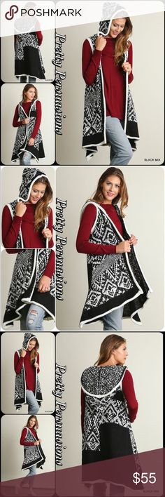 """Black & White Tribal Hooded Sleeveless Cardigan NWT Black & White Tribal Hooded Sweater Long Cardigan Vest  Available in S, M, L Measurements taken from a small  Length: 33"""" Bust: 44""""  Cotton Blend  Features  • black & white knit boho tribal design  • hooded • soft, cozy warm material • relaxed, easy flowy fit • open front   Bundle discounts available No pp or trades  Item # 1/2PP2180550BWHC  fall winter boho hooded Pretty Persuasions Sweaters Cardigans"""