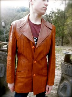c0024d78c39 WISE GUY Pimpin 70s Terra Cotta Brown Men s Leather Jacket    Size 36 M     100% Cabretta