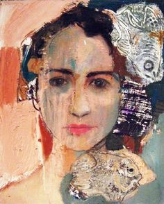 "Saatchi+Art+Artist+Fotini+Hamidieli;+Painting,+""a+face""+#art"