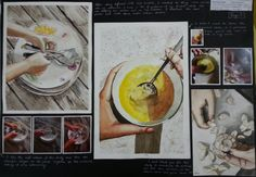 In the third page Anna addeda sense of action to her work by incorporating hands into her work. She photographed her friend preparing food and setting the table. taking an interesting view from above Anna used watercolours and captured the texture well. On study also incorporated pen lines to help her focal points of the hands and the garlic contrast with the pale background.
