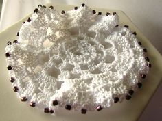 White Beaded Doily  Hand Crocheted by MariesCrochetCorner on Etsy, $5.00