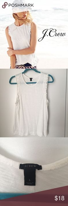 J. Crew white lace trim drapey tank. L Perfect for summer. Never worn. J. Crew Tops Tank Tops