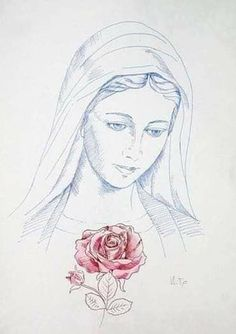 Mother Mary Images, Images Of Mary, Jesus Mother, Blessed Mother Mary, Jesus Drawings, Art Drawings, Catholic Art, Religious Art, Virgin Mary Art
