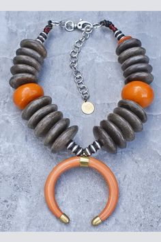 Bold Island Tribal Graywood Disc & Amber Crescent Horn Warrior Necklace Tibetan Prayer Beads, African Necklace, African Jewelry, Natural Stone Jewelry, Natural Stones, Amber Resin, Tribal Jewelry, Antique Gold, Horns