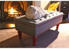 pavilion cats   Bouji Ottoman, Pavilion Grey and Red - Designer Furniture