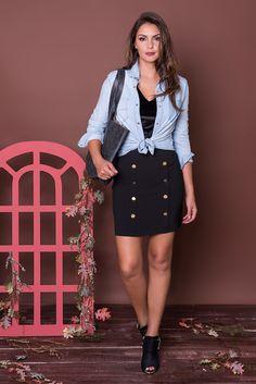 #debrummodas #coleção #saia #botões #camisa #jeans #amarração #modafeminina #moda #fashion #style #estilo