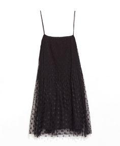 Net Splice Black Cami Dress