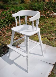 don't get excited about seeing a high chair. here's how to paint over a wood piece without sanding it first. geesh, people.