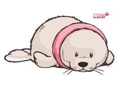 Wandtattoo White World Doodle Drawings, Cute Drawings, Cute Seals, Llama Gifts, Cute Clipart, Happy Paintings, Cartoon Pics, Penny Black, Watercolor Cards