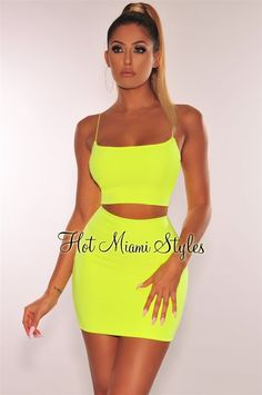 Neon Yellow Spaghetti Straps Skirt Two Piece Set Yellow Things yellow 2 piece set Neon Outfits, Neon Dresses, Cute Outfits, Fashion Outfits, Formal Outfits, Trendy Dresses, Dress Outfits, Neon Yellow Skirts, Yellow Mini Skirt