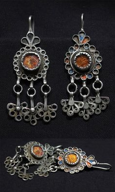 Morocco ~ Ouarzazate Region | Pair of old Berber earrings; silver, glass and traces of enamel | Early 20th century | 199$   ||| Source; http://www.ebay.com/itm/Old-Berber-Earrings-Ouarzazate-Region-Morocco-/251411287167