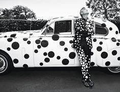 George Clooney in a Giorgio #Armani suit, shirt, bow tie, and shoes, customized by the artist Yayoi Kusama