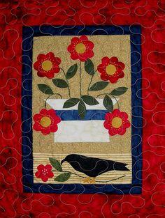 Folk Art Flowers Wall Quilt - finished - by Prairie Grove Peddler