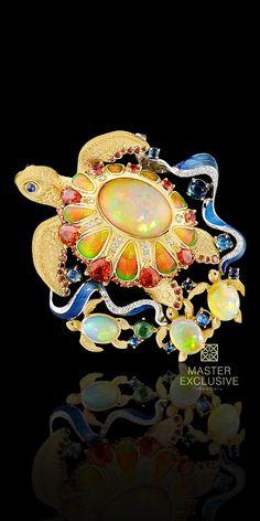 Ocean Secrets Opal and MutiGem Brooch, Master Exclusive Jewelry #OpalJewellery #AustraliaOpal