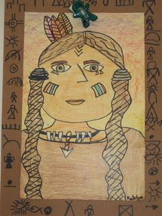 Slideshow included: Students can create a portrait of a Native American using correct proportions Students can color the portrait using mostly neutral and warm colors Students can use pictographs to create a story around the edges of the frame