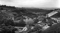 Construção do estádio do Pacaembu, em 1939.