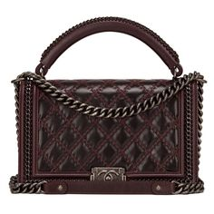 4ce8bb3d3f0a Chanel Burgundy Quilted Shiny Goatskin New Medium Boy Bag With Top Handle