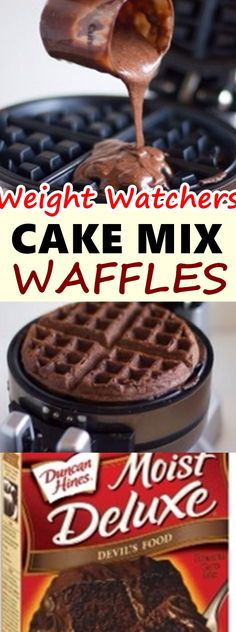 If you're looking for a fun dessert to make with the kids, try Cake Mix Waffles. It allows you to turn a simple cake mix into a fun, Weight Watchers Pancakes, Weight Watchers Cake, Weight Watchers Breakfast, Weight Watchers Desserts, Weight Watchers Waffle Recipe, Waffle Maker Recipes, Cake Mix Recipes, Ww Recipes, Cake Mixes