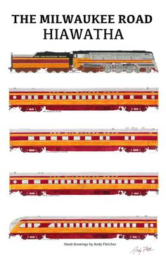The Milwaukee Road Hiawatha passenger train with hand drawings by Andy Fletcher Well I have one of these in fb TrainStation game - pulls 7 cars