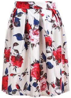 White Rose Print Pleated Skirt 14.33