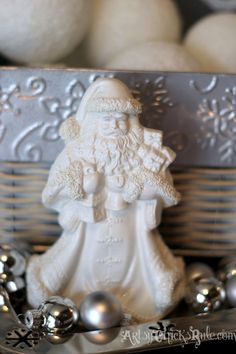 Santa - Dollar store and thrift store finds for decorating - Holiday Home Tour