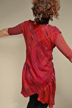Woven Saori garment, Summer Ablaze With Reds from the blog of Curious Weaver