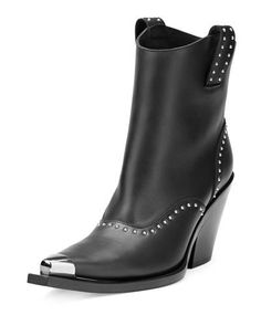 X36VD Givenchy Studded Leather Western Boot, Black
