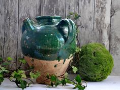 beautiful antique French green glazed pot
