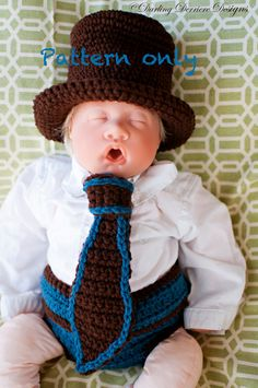 Top Hat, Tie, and Button Diaper Cover Crochet Pattern