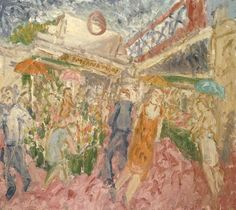 Artwork page for 'The Flower and Fruit Stalls, Embankment Leon Kossoff, 1995 Leon Kossoff, David Bomberg, Fruit Stall, Wet Style, Landscaping Images, Tate Gallery, Venice Biennale, Art Uk, Stalls