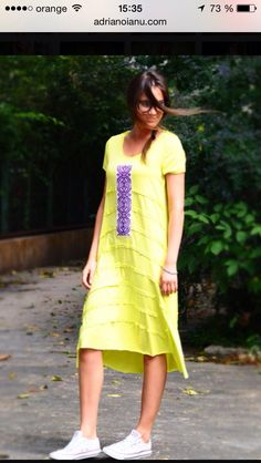 Jersey dress with handmade embroidery. Contemporary design. Streetstyle