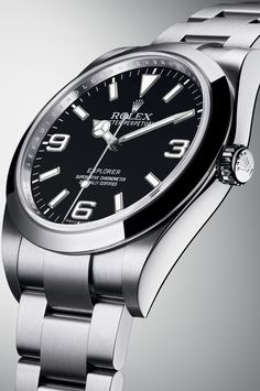 The Rolex Explorer in 904L steel and with a black dial and full Chromalight display.