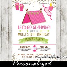 Slumber party invitations featuring a girly pink tent with nail polish, sleep mask and slippers hanging from a clothesline against a white backdrop with a sprinkle of faux gold glitter. Perfect for girls sleepover party invitation to a fun camp out in your own yard or an indoor camp-in in your living room for a wide range of ages including 8, 9, 10, 11, 12 year olds! #cupcakemakeover