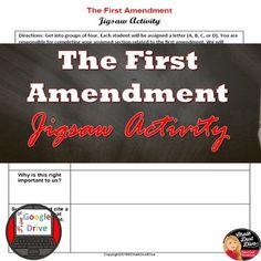 First Amendment Jigsaw Activity Print and Digital Teaching Secondary, Freedom Of Religion, High School History, Teaching Strategies, Creative Teaching, Social Science, Critical Thinking, Teacher Resources, Social Studies