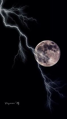 . Lightning Moon. #moonshine #moonlight #moonpics…