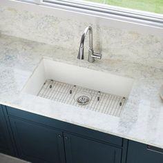 Kitchen Sinks Elkay Quartz Luxe x Undermount Kitchen Sink Finish: Ricotta - Best Kitchen Sinks, Kitchen Sink Design, Farmhouse Sink Kitchen, Kitchen Sink Faucets, New Kitchen, Cool Kitchens, Laundry Sinks, Kitchen Ideas, French Kitchen