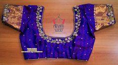 Kids Blouse Designs, Simple Blouse Designs, Stylish Blouse Design, Pattu Saree Blouse Designs, Blouse Designs Silk, Designer Blouse Patterns, Work Blouse, Blue Blouse, Maggam Works