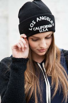 Brandy ♥ Melville | Los Angeles Embroidery Beanie - Beanies - Accessories