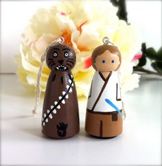 Star Wars Ornaments Luke Skywalker and Chewbacca Mini Christmas Tree Ornaments Geekery Cute Wooden Wood Peg Dolls Peggies Sci Fi
