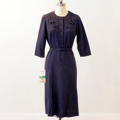 Vintage 50s Dress NWT 1950s Navy Blue Cotton by daisyandstella, $55.00