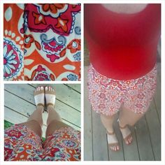 Printed shorts, tamk, sandals, summer outfit