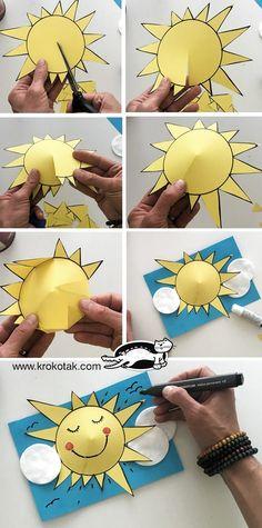 Preschool Sun Art Event – Bastelkarten - DIY and crafts Preschool Crafts, Kids Crafts, Arts And Crafts, Sun Crafts, Diy Crafts Easy At Home, Summer Crafts, Preschool Activities, Health Activities, Weather Activities