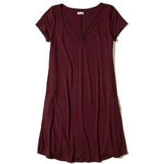 Hollister Strappy Swing T-Shirt Dress ($21) ❤ liked on Polyvore featuring dresses, burgundy, scoop neckline dress, t-shirt dresses, tee shirt dress, burgundy t shirt dress and red dress
