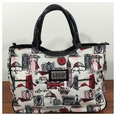 LuLu Guinness Handbag London Theme A fun LuLu Guinness handbag for lovers of all things London. Fabric print features images of Big Ben, the royal crown, stylishly dressed women and more. Eggshell background w/black, burgundy(ish) red, gay and pink. Black vinyl trim. Has three sections; center w/ zip closure, outer sections w/ snap closure. Multiple interior pockets and attached cosmetic case. Has some spots on exterior (see first 4 pics of last collage), clean interior. Approx measurements…
