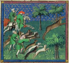 Hunting and Taking the Hart (detail) / Le Livre de la chasse / Gaston Phoebus / France, Paris, ca. 1407 / The Morgan Library & Museum